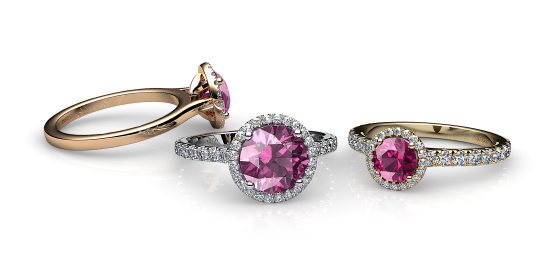 Grace. Pink tourmaline diamond round halo ring