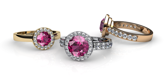 Violet. Pink tourmaline and diamonds pave ring