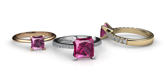 Betelgeuse. Princess cut pink tourmaline solitaire ring