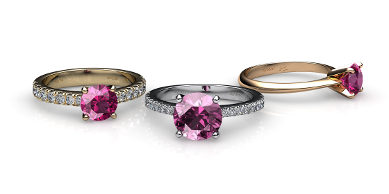 Betelgeuse. Prong-set pink tourmaline solitaire ring