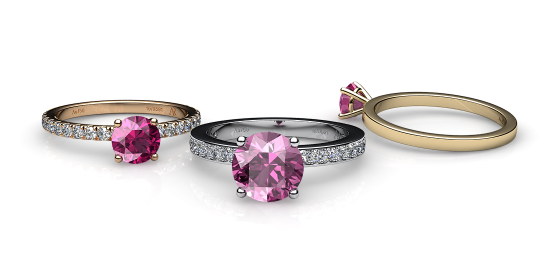 Iris. Prong-set pink tourmaline solitaire ring