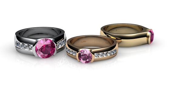 Constance. Semi-bezel set pink tourmaline ring
