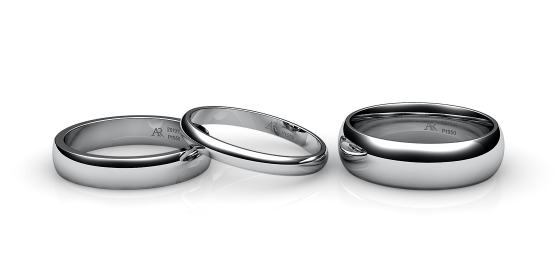 Flamenco. Domed wedding band in platinum