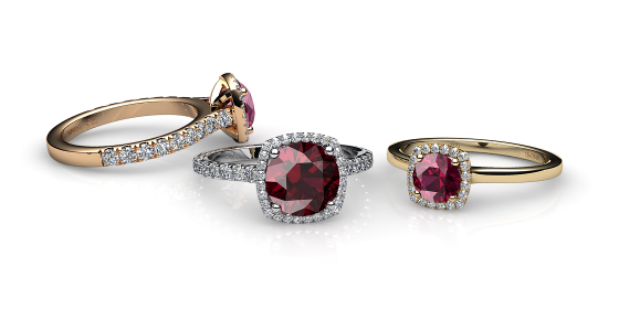 Grace. Rhodolite garnet diamond halo ring