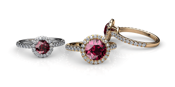 Tenderness. Rhodolite garnet diamond halo ring