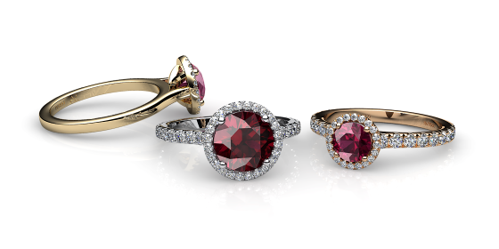 Grace. Rhodolite garnet diamond round halo ring