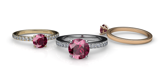 Iris. Prong-set rhodolite garnet solitaire ring