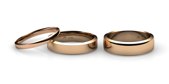 Rumba. Angled style wedding band in rose gold