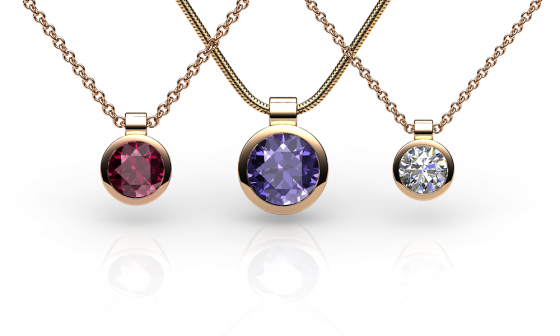 Venice. Bezel-set rose gold pendant