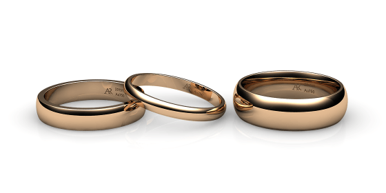 Flamenco. Domed wedding band in rose gold
