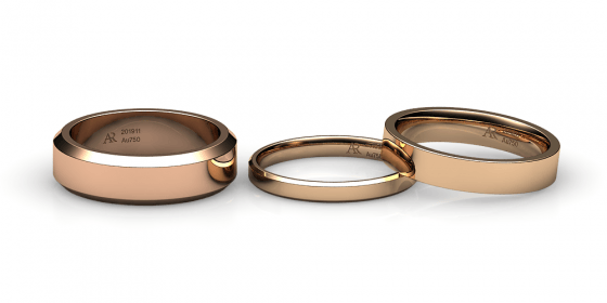 Tango. Flat wedding band in rose gold