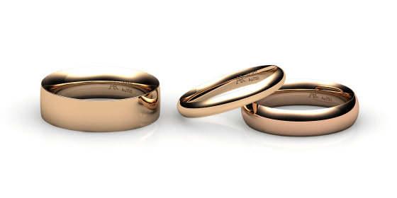 Habanera. Lens shape wedding band in rose gold