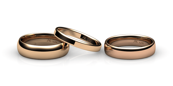 Samba. Rounded style wedding band in rose gold
