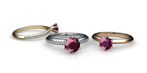 Stella. 6 prongs solitaire rubellite tourmaline ring