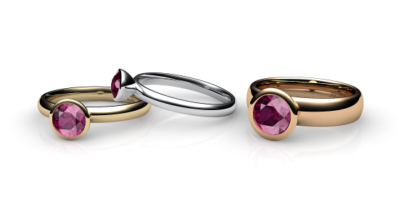 Melody. Bezel set rubellite tourmaline ring