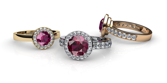 Violet. Rubellite tourmaline and diamonds pave ring