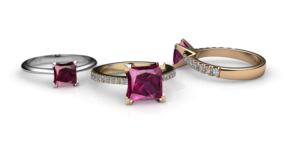 Betelgeuse. Princess cut rubellite tourmaline solitaire ring