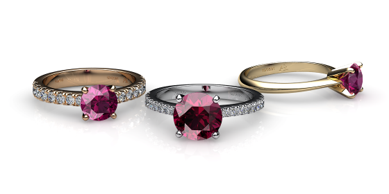 Betelgeuse. Prong-set rubellite tourmaline solitaire ring