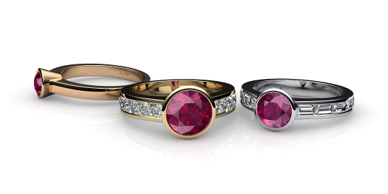 Venice. Bezel set ruby ring