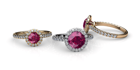 Tenderness. Ruby diamond halo ring