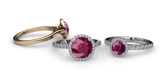 Grace. Ruby diamond round halo ring