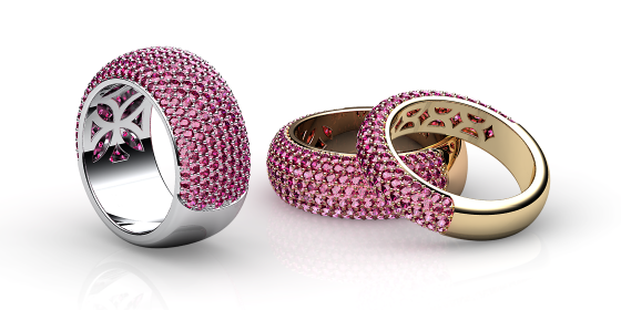 Silky. Ruby pave-set ring