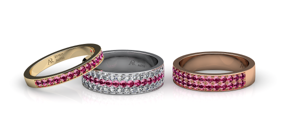 Ariadne. Pave-set ruby wedding ring