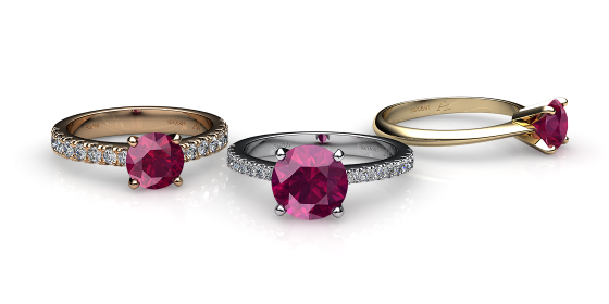 Betelgeuse. Prong-set ruby solitaire ring