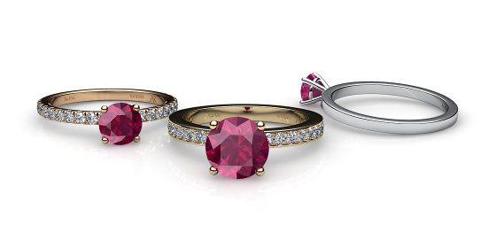 Iris. Prong-set ruby solitaire ring