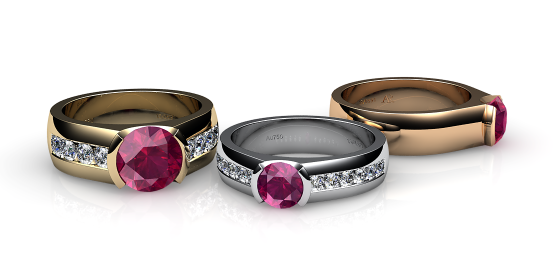 Constance. Semi-bezel set ruby ring