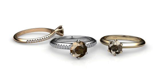 Stella. 6 prongs solitaire smoky quartz ring