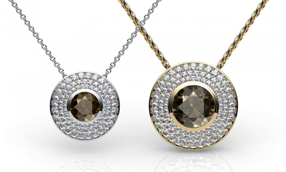 Noor. Diamond pave smoky quartz pendant