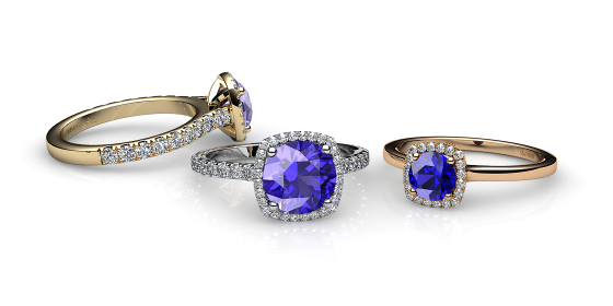 Grace. Tanzanite diamond halo ring