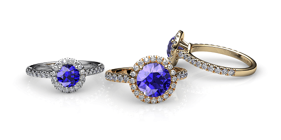 Tenderness. Tanzanite diamond halo ring