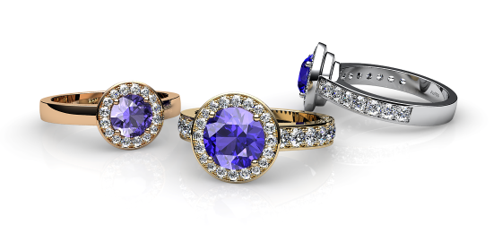Violet. Tanzanite and diamonds pave ring