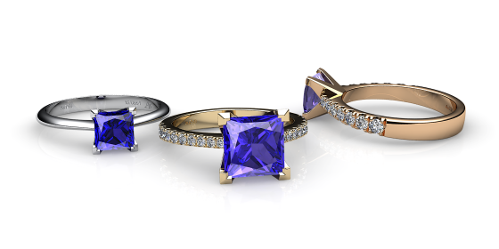 Betelgeuse. Princess cut tanzanite solitaire ring