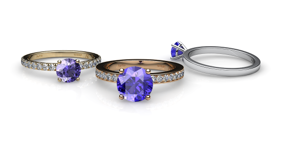 Iris. Prong-set tanzanite solitaire ring