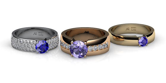 Galatea. Prongs-set tanzanite ring