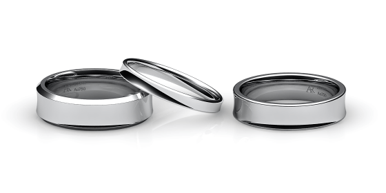 Swing. Concave wedding band in white gold