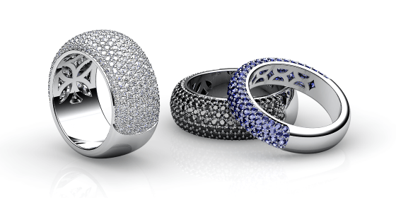 Silky. White gold pave-set ring