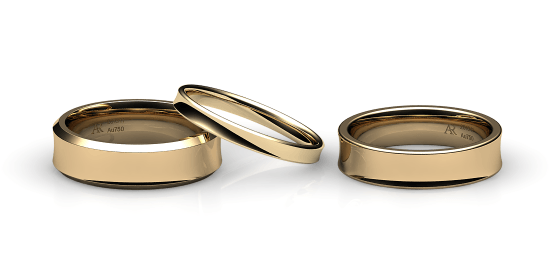 Swing. Concave wedding band in yellow gold