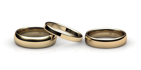 Samba. Rounded style wedding band in yellow gold