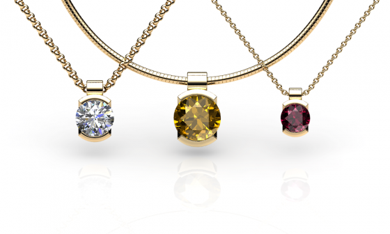 Constance. Semi-bezel set yellow gold pendant