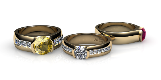 Constance. Semi-bezel set yellow gold ring