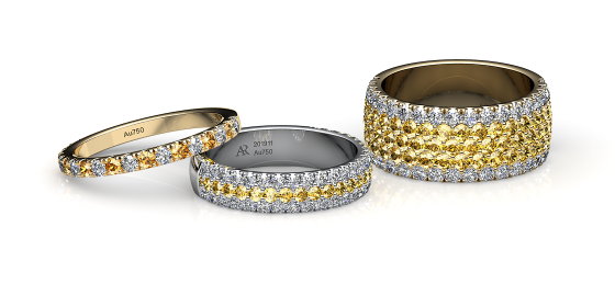 Grace. Pave-set yellow sapphire wedding ring