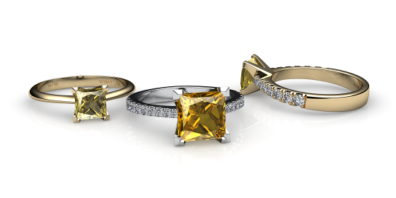 Betelgeuse. Princess cut yellow sapphire solitaire ring