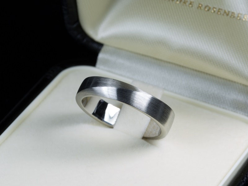 Brushed platinum personalized wedding ring