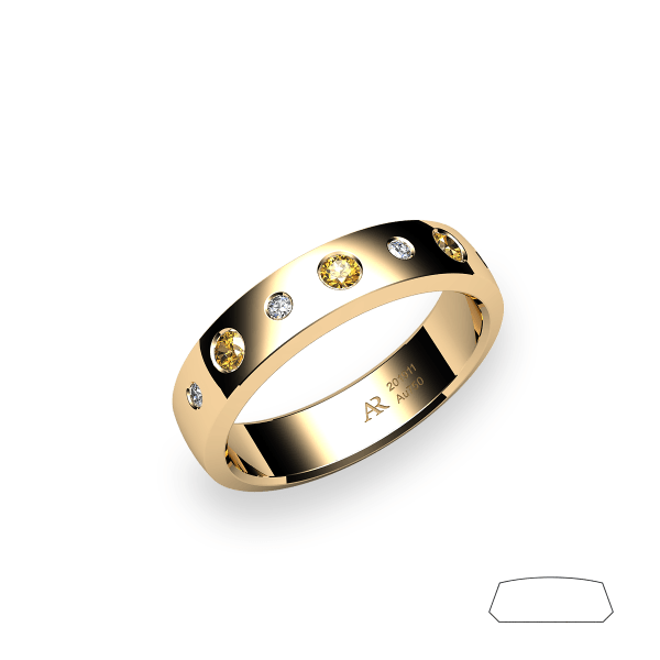 Andromeda. Burnish-set yellow sapphire wedding ring