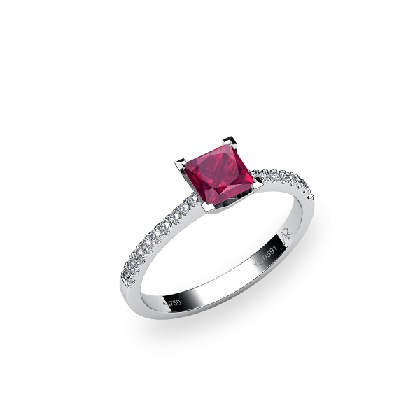 Betelgeuse. Princess cut ruby solitaire ring