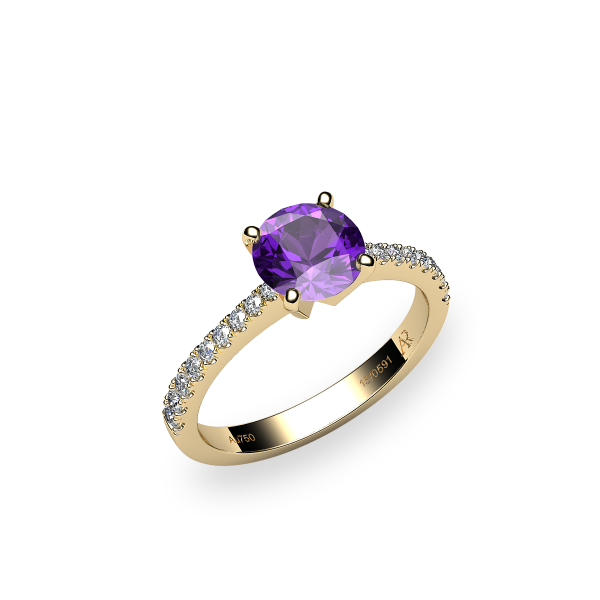 Betelgeuse. Prong-set amethyst solitaire ring